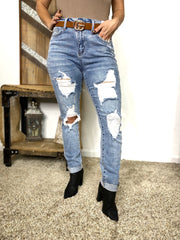Judy Blue Denim- Destroyed High Waisted Skinny Cuff