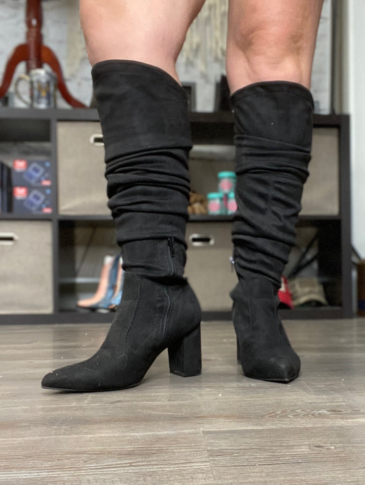 Chunky Thigh High Heels- Black