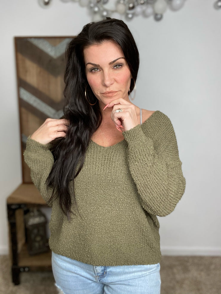 SALE * S & M* Bringing Sexy Back Sweater- Olive