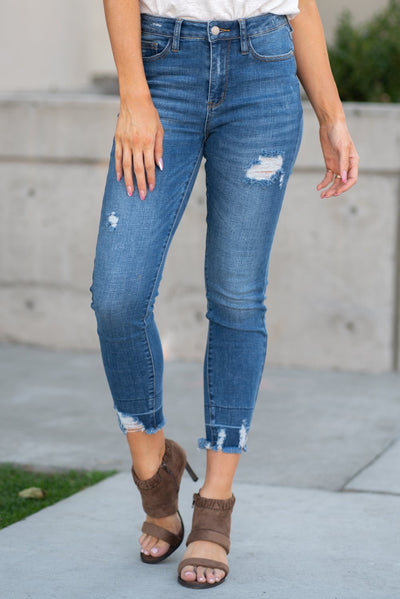 Judy Blue Denim- High Waist Release Hem Skinny