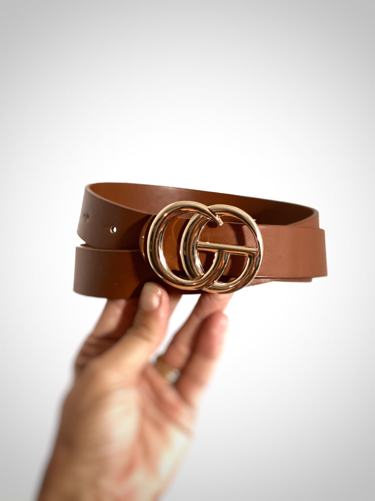Inspired GG Belt- Cognac/ Gold