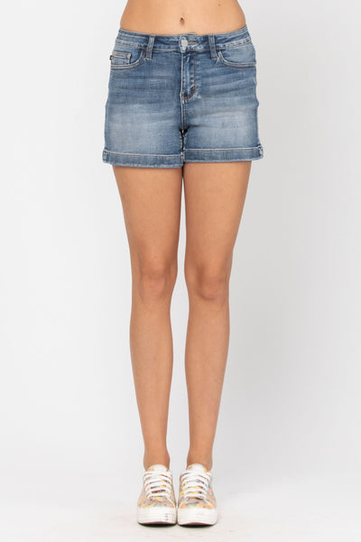 Judy Blue Denim- High Waist Non Distressed Hem Shorts