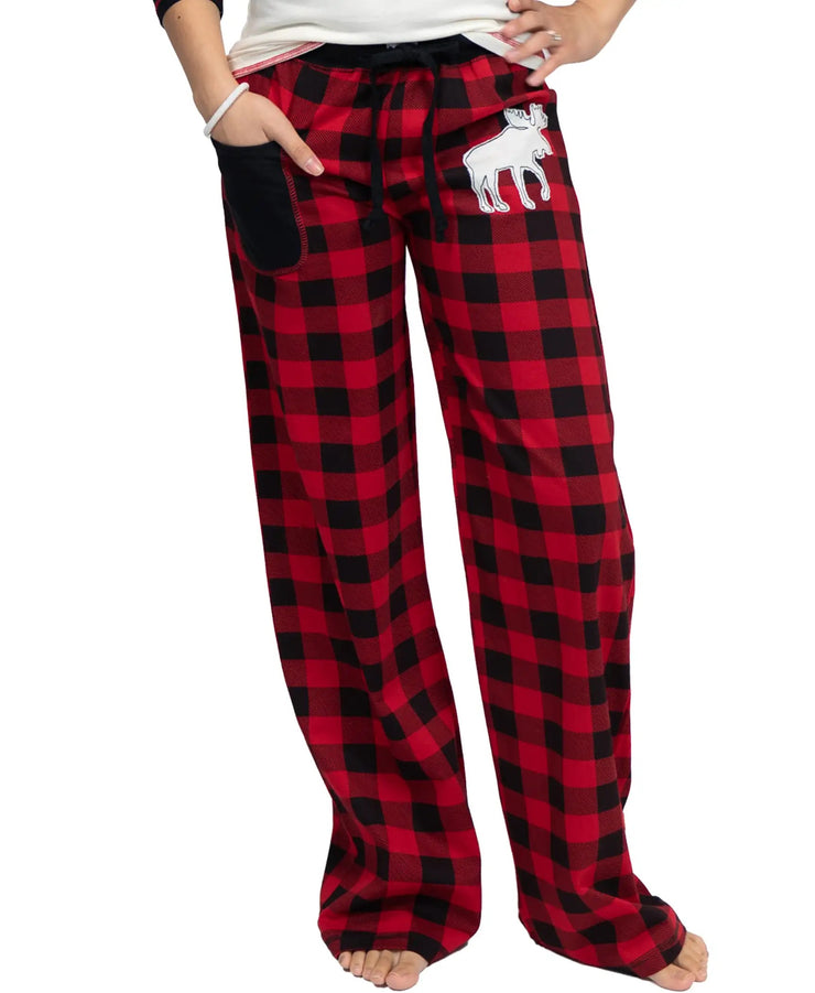 PREORDER Moose Plaid Family- Women's Fitted Pants