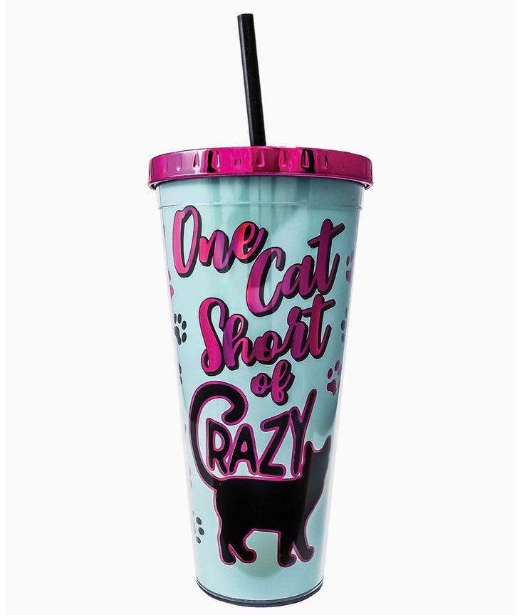 Cat Mom Cup w/straw