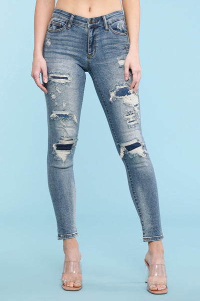 Judy Blue- Destroyed Patched Tapered Slim
