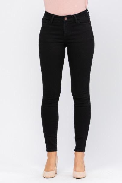 Judy Blue Denim- Mid Rise Black Skinny