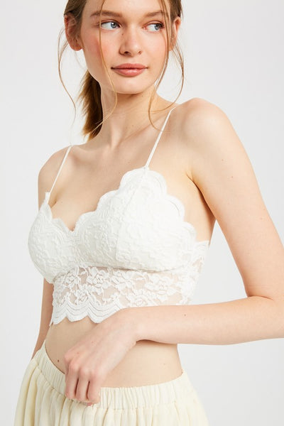Love Me Long Time Laced Bralette- Ivory