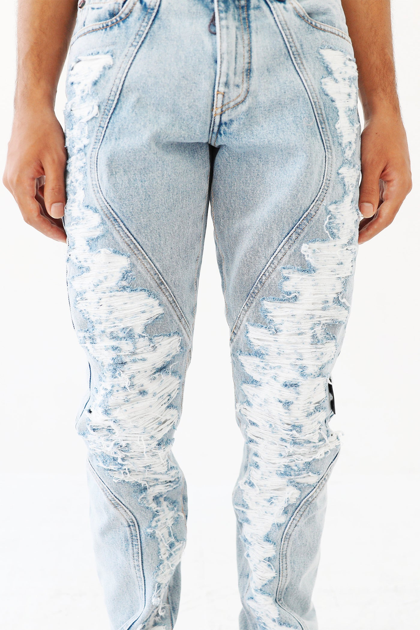 Off White C/o Who Decides War Blue Distressed Denim