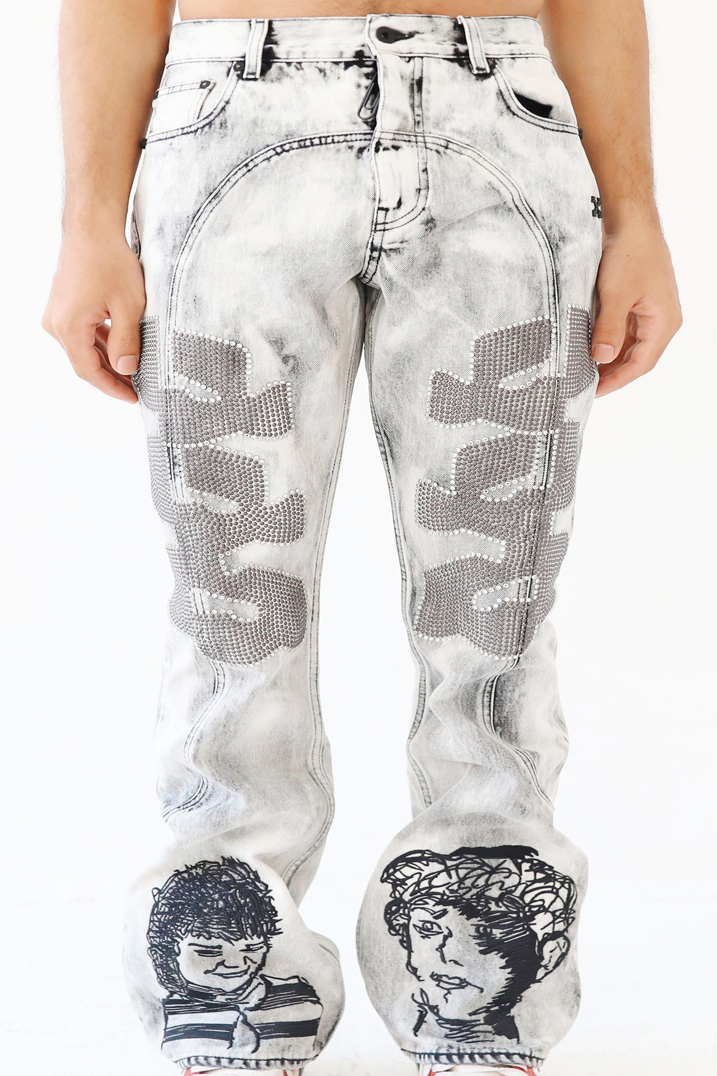 Off White C/o Who Decides War Grey Embroidered Denim