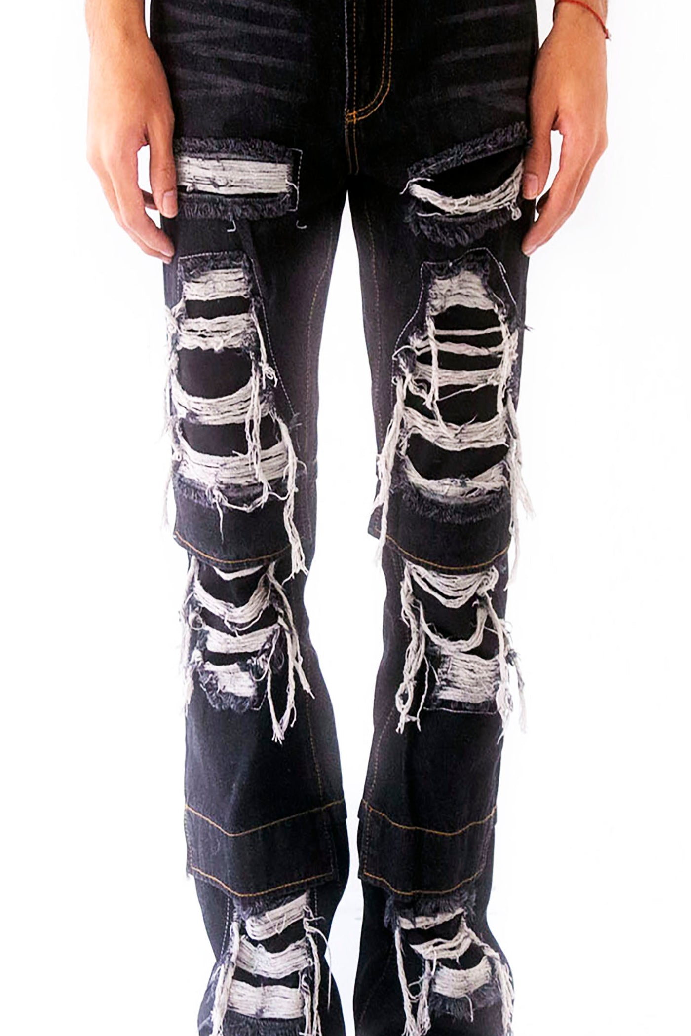 BLACK KNEE FLAP DISTRESSED DENIM