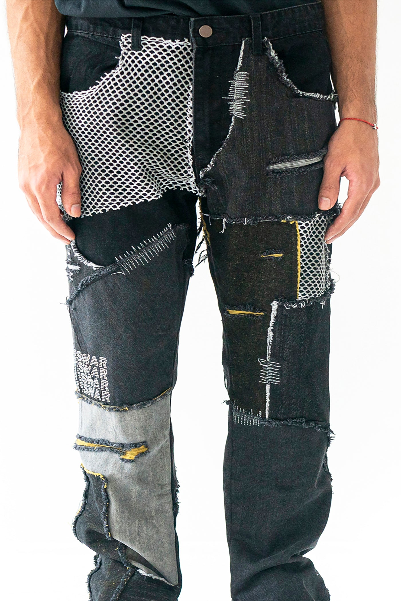 UPCYCLED BLACK PATCHWORK DENIM