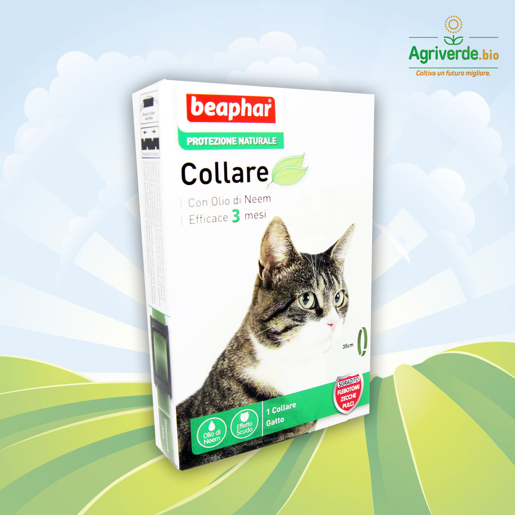 Collare antiparassitario all'Olio di Neem efficace per 3 mesi Gatto