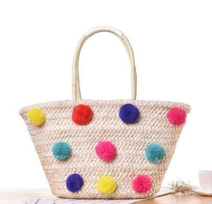 Rainbow Pompoms Woven Beach Bag