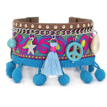 Blue Peace Embroidered Bracelet