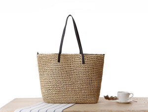 Large Straw Beach Bag-Dark Beige
