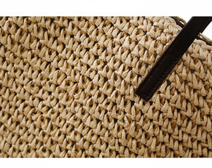 Large Straw Beach Bag-Beige