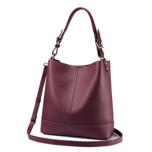 2 in 1 Genuine Leather Square  Casual Tote-Red