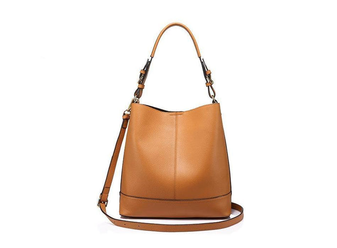 2 in 1 Genuine Leather Square  Casual Tote-Ginger