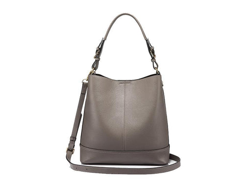2 in 1 Genuine Leather Square  Casual Tote-Gray