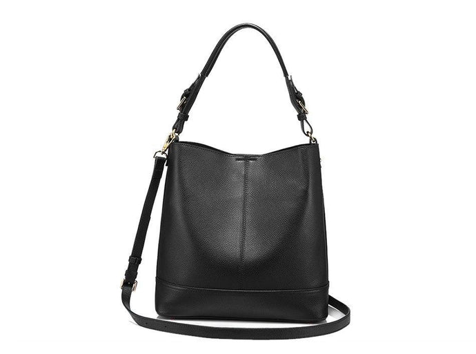 2 in 1 Genuine Leather Square  Casual Tote- Black