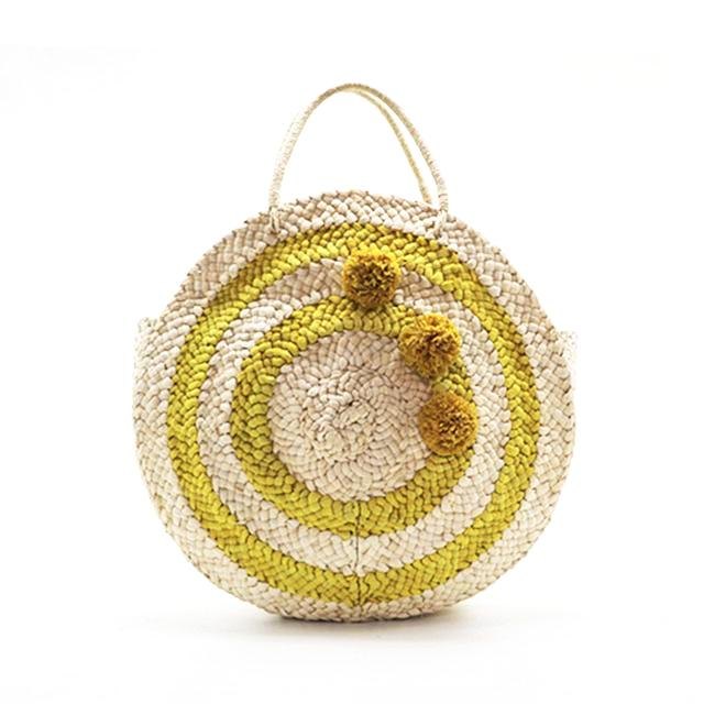 Yellow Pompoms Woven Tote Bag