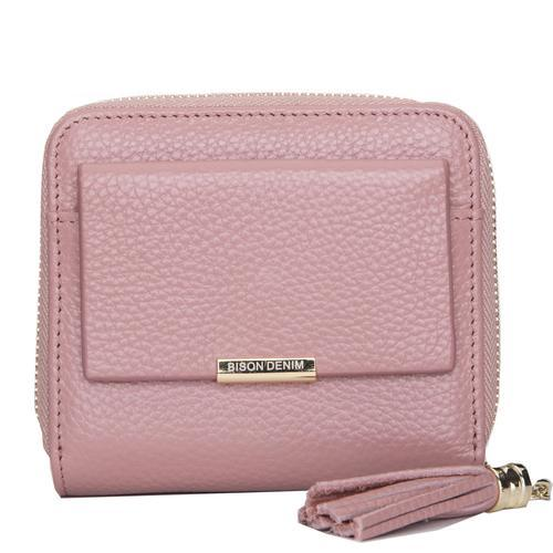 Genuine Cowhide Concise Purse-Pink