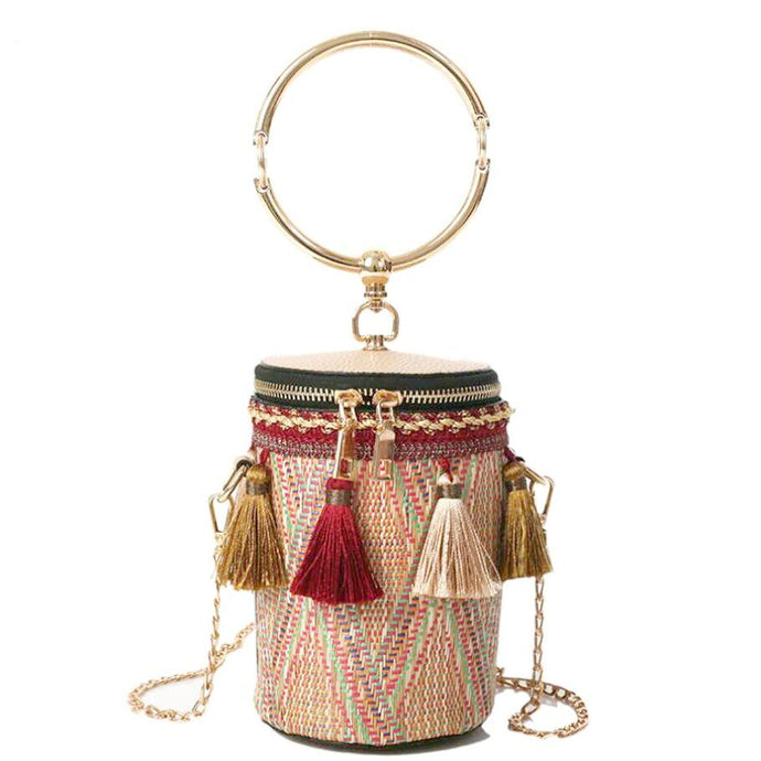 Tassel Lady Bucket Bag-Red