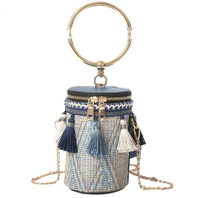 Tassel Lady Bucket Bag- Blue