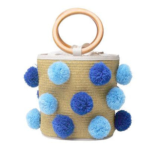 4 Season Pompom Bucket Bag -Blue