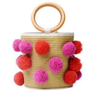 4 Season Pompom Bucket Bag - Red