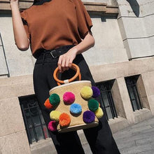4 Season Pompom Bucket Bag -Rainbow