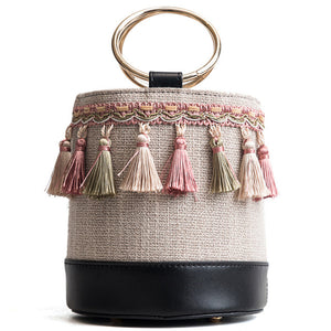 Woven Tassel Bucket Bag-Black