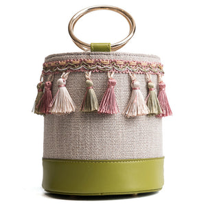 Woven Tassel Bucket Bag-Green