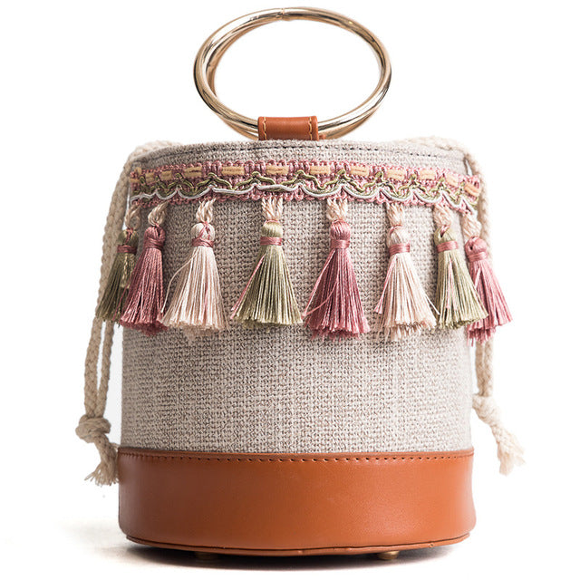 Woven Tassel Bucket Bag-Brown