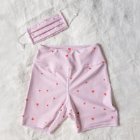 Love Heart Print Yoga Shorts in Dusty Pink