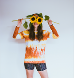 Tie-dye Long Sleeve Top in Rust