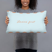 Ladies First Slogan Reversible Cushion