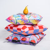 Checked Heart Reversible Cushion
