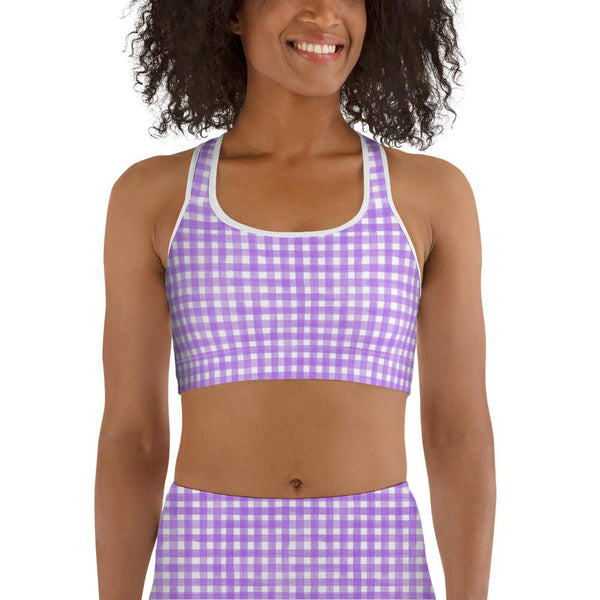 Watercolour Gingham Sports Bra