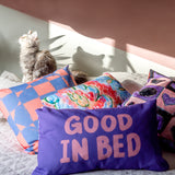 Good in Bed Slogan. Reversible Cushion
