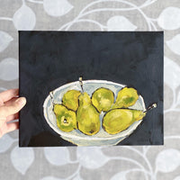 The pears in a bowl still life painting