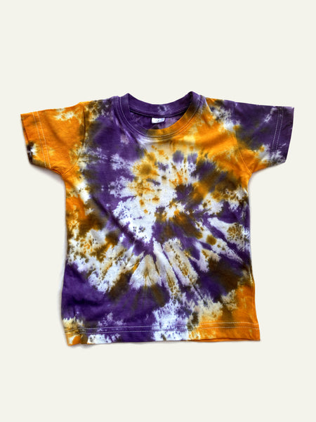 Tie-Dye Toddler Top in purple and orange
