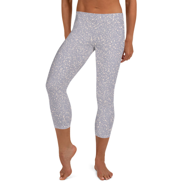 Micro Spot Capri Leggings in Lilac