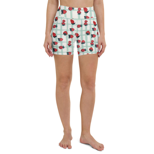 Strawberry Print Biker Shorts
