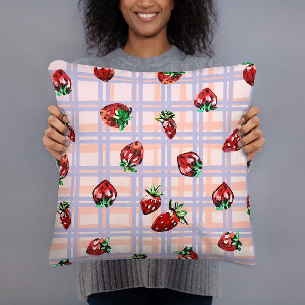 Strawberry Print Reversible Cushion