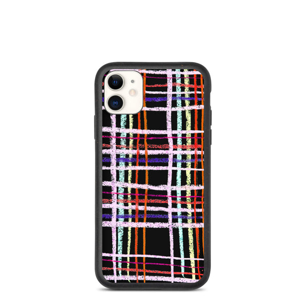 Biodegradable phone case with the checked print