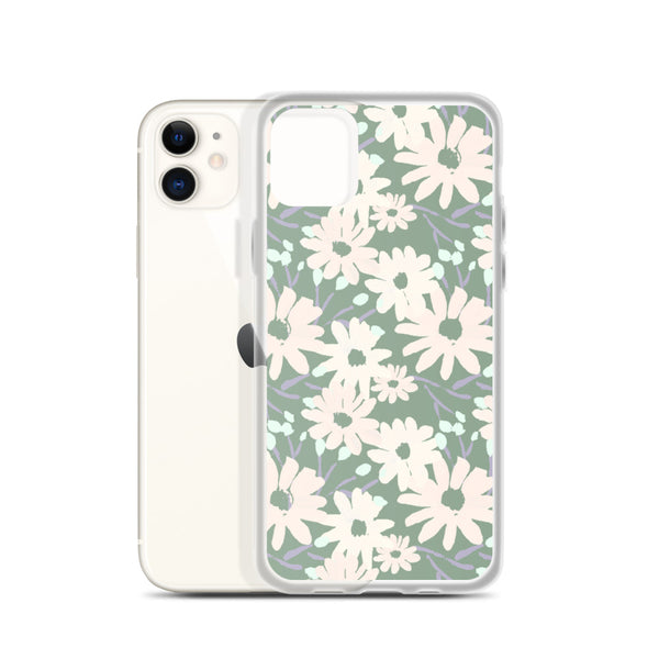 90's Daisy Pattern  iPhone Case in Sage