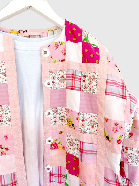 Patchwork Jacket in Pink. Kikina Designs x My Mama's Quilts