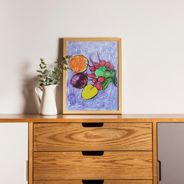 Still life with Radishes.  Artwork. A4 Poster