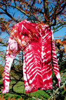 Tie-dye Unisex Skater Top in Cherry Red and Pink